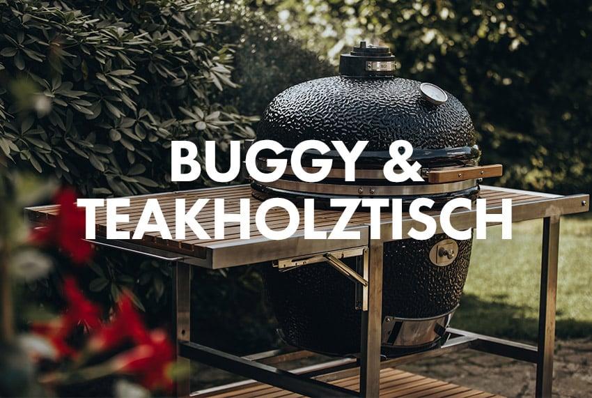 Monolith Buggy und Teakholztisch