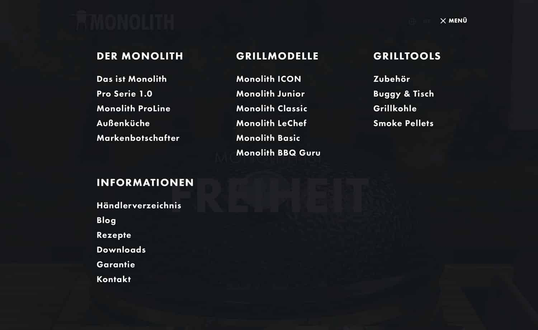 Monolith Kamado Menü